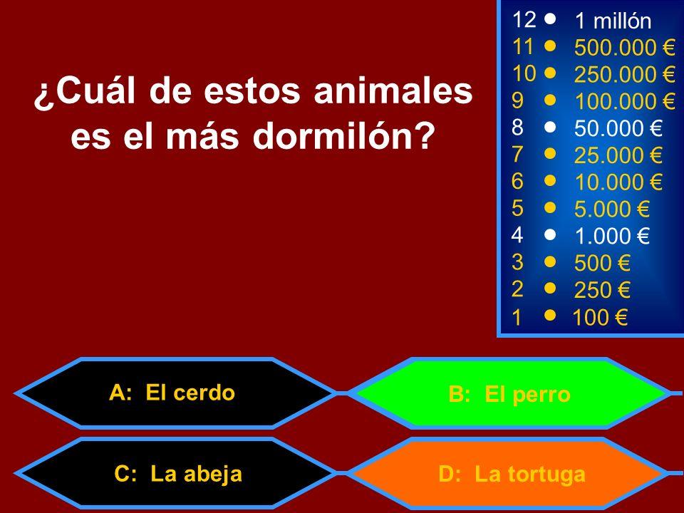 1100 3 500 12 11 10 9 1 millón 500.000 250.000 100.000 ¿Cuál de estos animales es el más dormilón? 2 250 4 1.000 5 5.000 6 10.000 7 25.000 8 50.000 D: