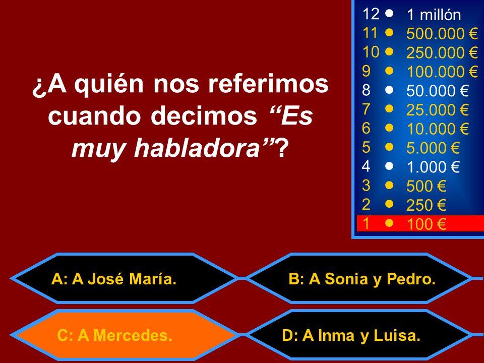 A: trigo C: trajo D: trago B: traigo 2 250 8 7 6 5 4 50.000 25.000 10.000 5.000 1.000 12 11 10 9 1 millón 500.000 250.000 100.000 ¿Cuál es la primera persona (yo) del verbo TRAER.