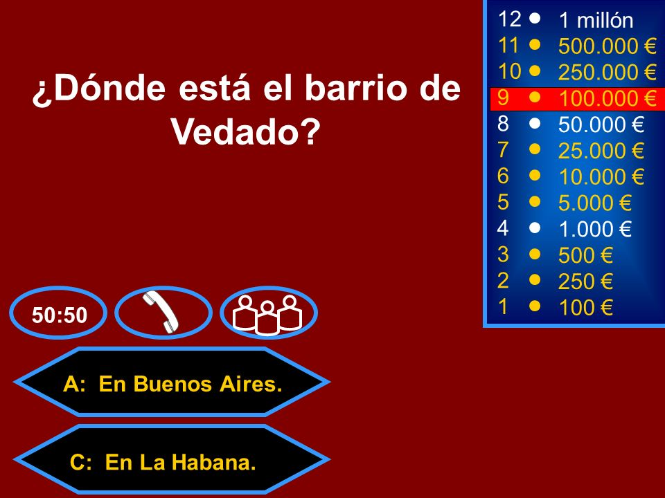 A: En Buenos Aires. C: En La Habana. D: En Nueva York. B: En La Coruña. 2 250 8 50.000 12 11 10 1 millón 500.000 250.000 ¿Dónde está el barrio de Veda