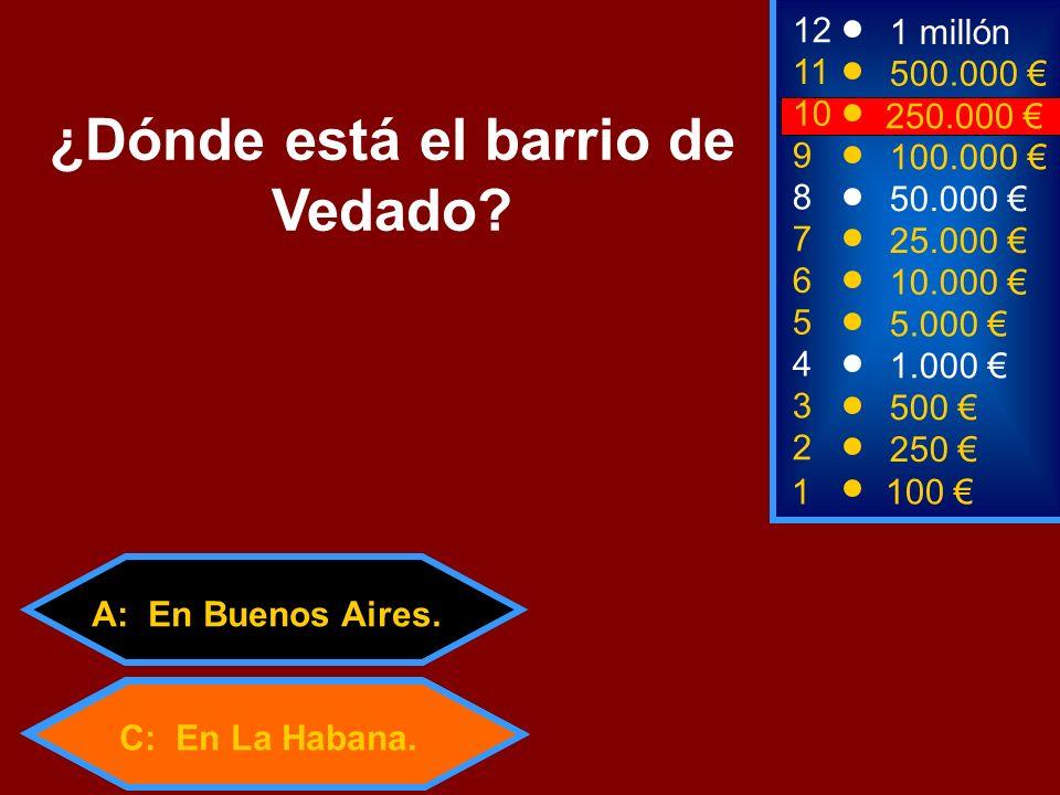 A: En Buenos Aires. C: En La Habana. 2 250 8 50.000 12 11 10 1 millón 500.000 250.000 ¿Dónde está el barrio de Vedado? 1 100 3 500 4 1.000 5 5.000 6 1