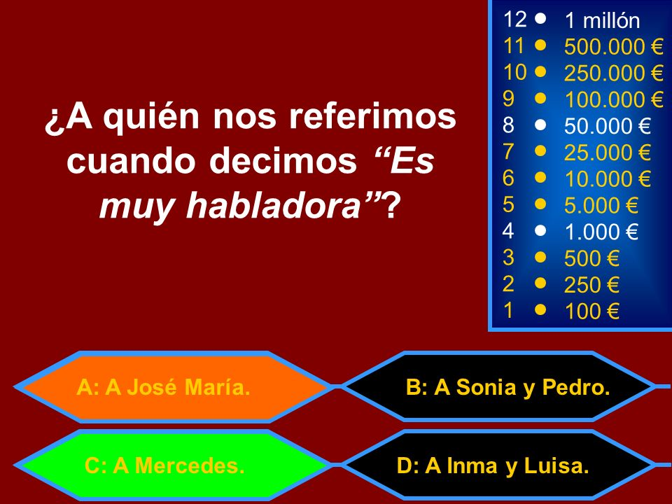 A: trigo B: traigo 2 250 8 7 6 5 4 50.000 25.000 10.000 5.000 1.000 12 11 10 9 1 millón 500.000 250.000 100.000 ¿Cuál es la primera persona (yo) del verbo TRAER.
