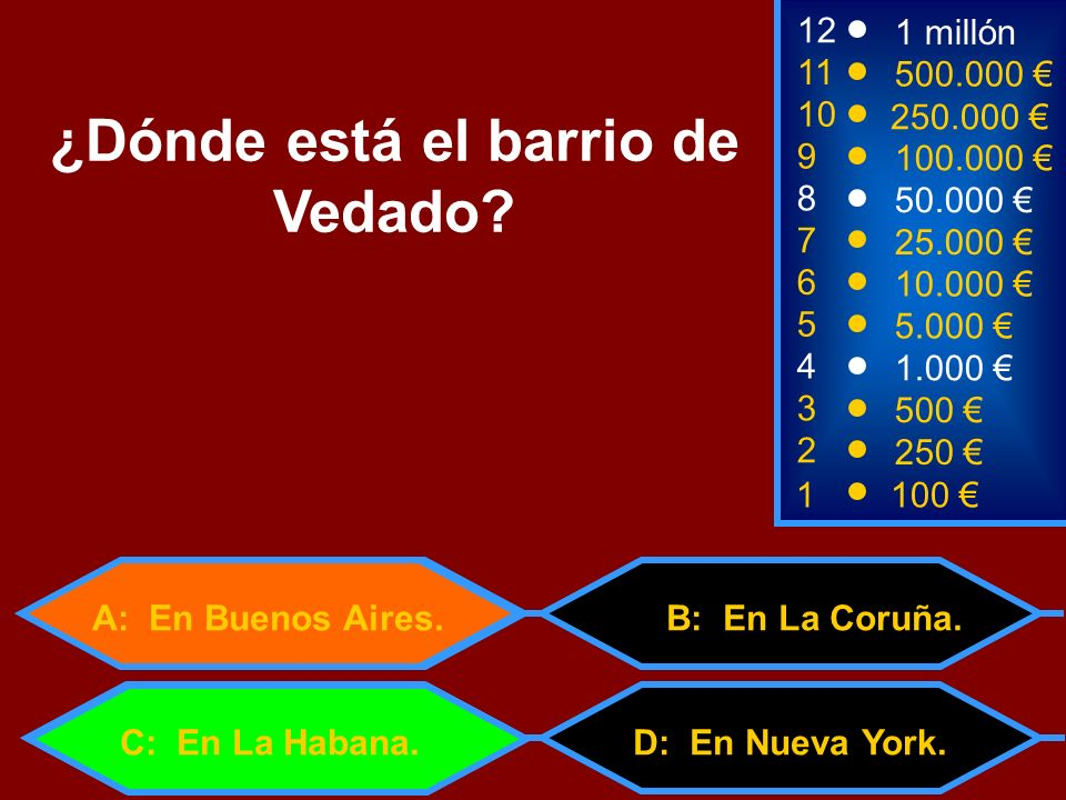 1100 3 500 12 11 9 1 millón 500.000 100.000 ¿Dónde está el barrio de Vedado? 2 250 4 1.000 5 5.000 6 10.000 7 25.000 8 50.000 10 250.000 D: En Nueva Y