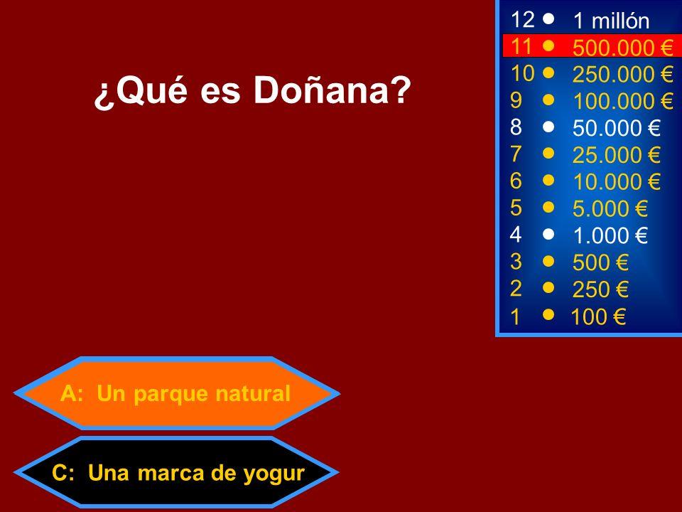 A: Un parque natural C: Una marca de yogur 2 250 8 7 50.000 25.000 12 11 9 1 millón 500.000 100.000 ¿Qué es Doñana? 1 100 3 500 4 1.000 5 5.000 6 10.0