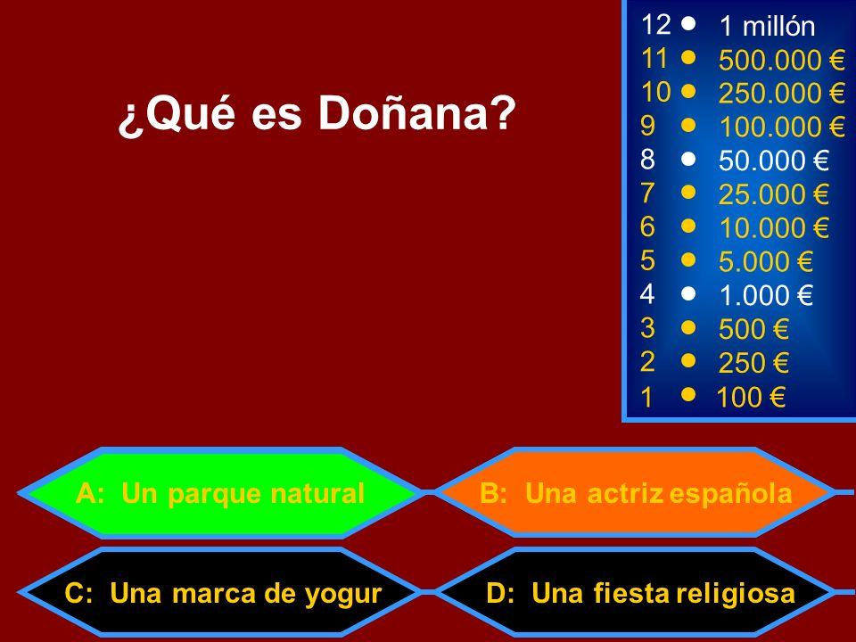 1100 8 3 50.000 500 12 10 9 1 millón 250.000 100.000 ¿Qué es Doñana? 2 250 D: Una fiesta religiosa 4 1.000 B: Una actriz española 5 5.000 C: Una marca