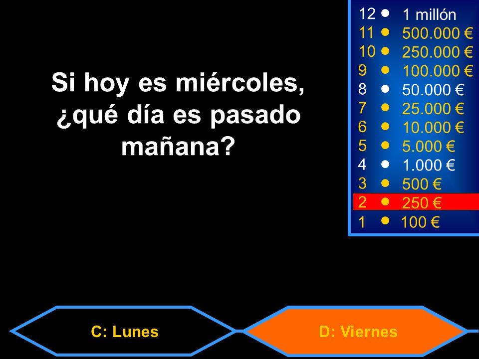 C: LunesD: Viernes 2 250 8 7 6 5 4 3 50.000 25.000 10.000 5.000 1.000 500 12 11 10 9 1 millón 500.000 250.000 100.000 Si hoy es miércoles, ¿qué día es pasado mañana.