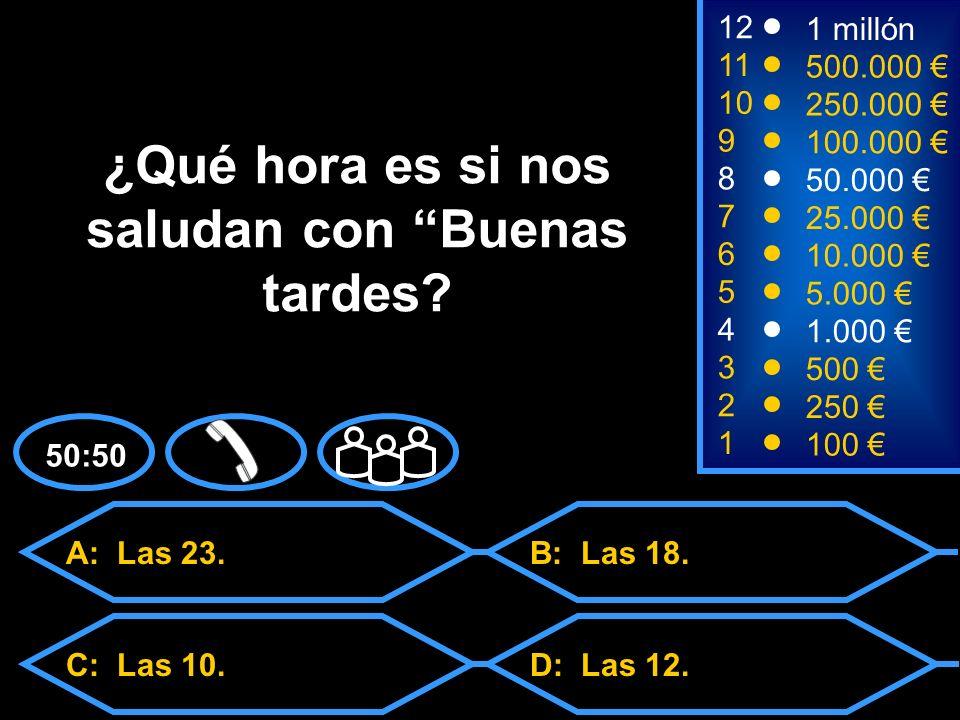 A: 18 C: 21D: 24 B: 27 2 250 8 7 50.000 25.000 12 11 9 1 millón 500.000 100.000 ¿En cuántos países el español es lengua oficial.