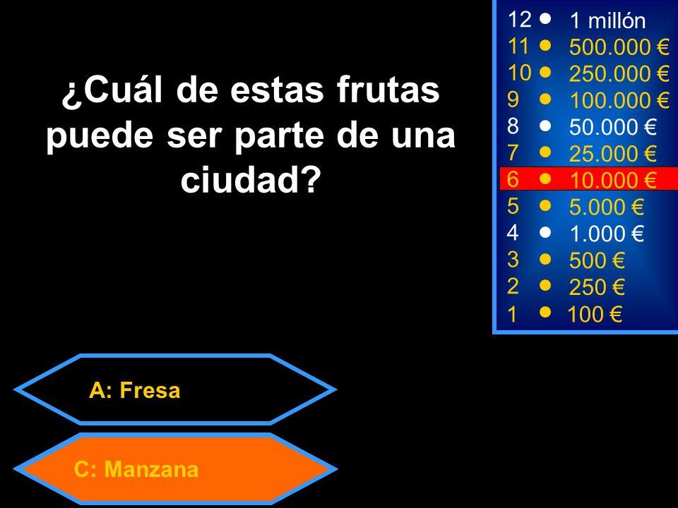 A: Fresa C: Manzana 2 250 8 7 6 50.000 25.000 10.000 12 11 10 9 1 millón 500.000 250.000 100.000 ¿Cuál de estas frutas puede ser parte de una ciudad.