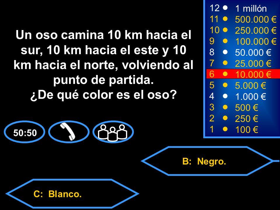 A: Marrón. C: Blanco.D: Esto es imposible. B: Negro.
