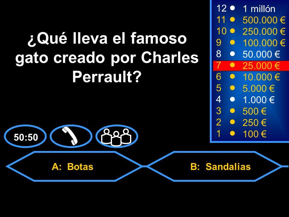 A: Botas C: Zapatillas deportivasD: Calcetines B: Sandalias 2 250 8 50.000 12 11 10 9 1 millón 500.000 250.000 100.000 ¿Qué lleva el famoso gato creado por Charles Perrault.
