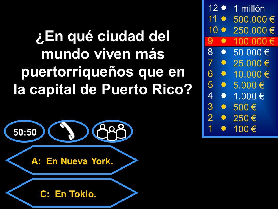 A: En Nueva York. C: En Tokio. D: En Los Ángeles.