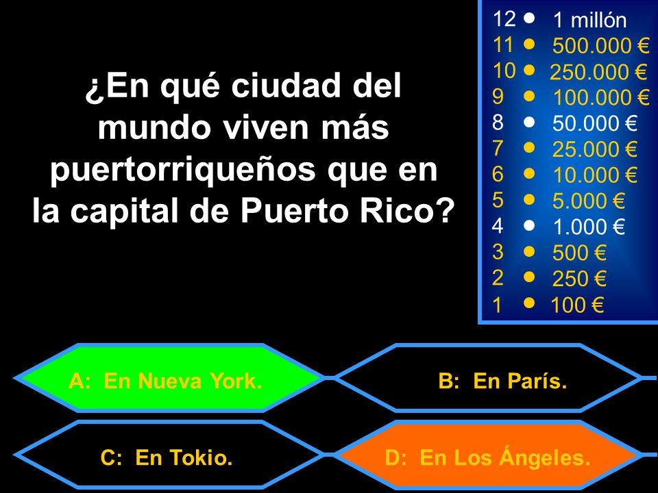 1100 3 500 12 11 9 1 millón 500.000 100.000 ¿En qué ciudad del mundo viven más puertorriqueños que en la capital de Puerto Rico.