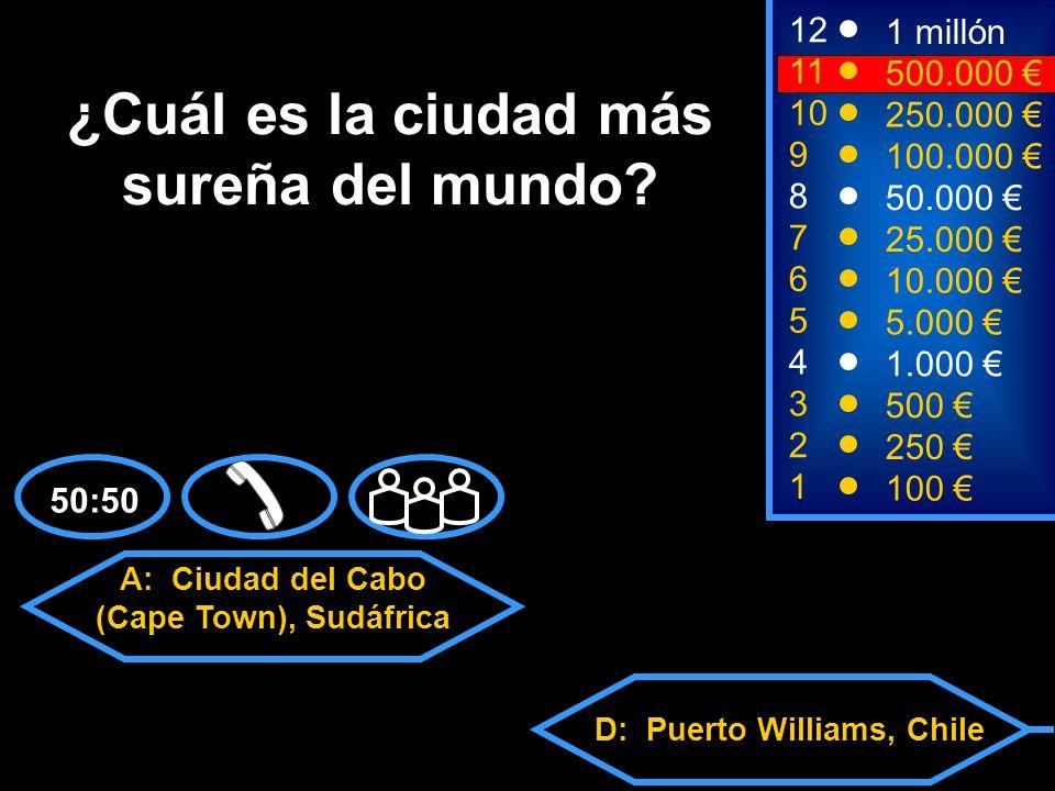 A: Ciudad del Cabo (Cape Town), Sudáfrica C: Buenos Aires, Argentina D: Puerto Williams, Chile B: Dunedin, Nueva Zelanda 2 250 12 10 9 1 millón 250.000 100.000 ¿Cuál es la ciudad más sureña del mundo.