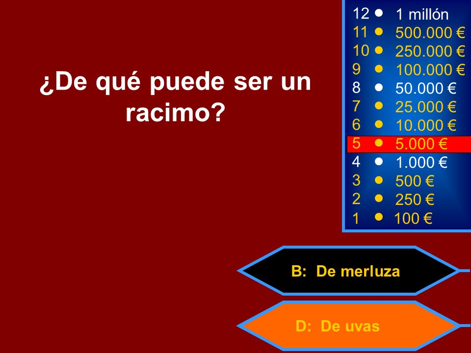 D: De uvas B: De merluza 2 250 8 7 6 5 50.000 25.000 10.000 5.000 12 11 10 9 1 millón 500.000 250.000 100.000 ¿De qué puede ser un racimo.