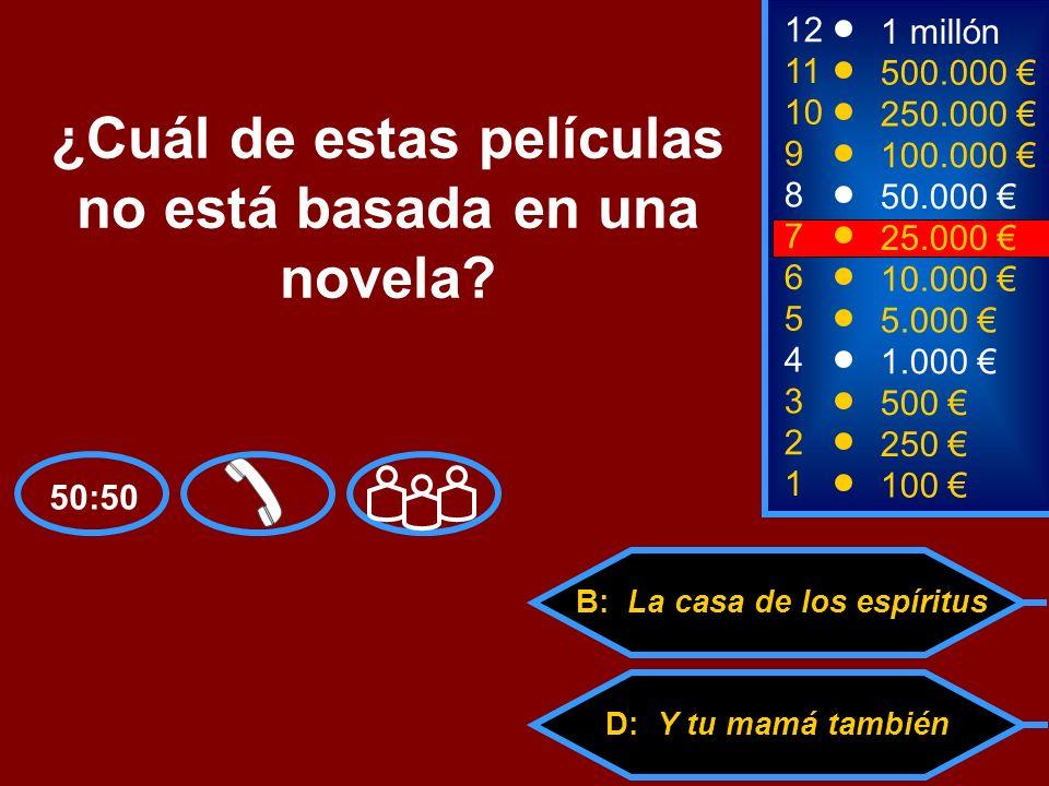 A: Como agua para chocolate C: El amor en los tiempos del cólera D: Y tu mamá también B: La casa de los espíritus 2 250 8 50.000 12 11 10 9 1 millón 500.000 250.000 100.000 ¿Cuál de estas películas no está basada en una novela.