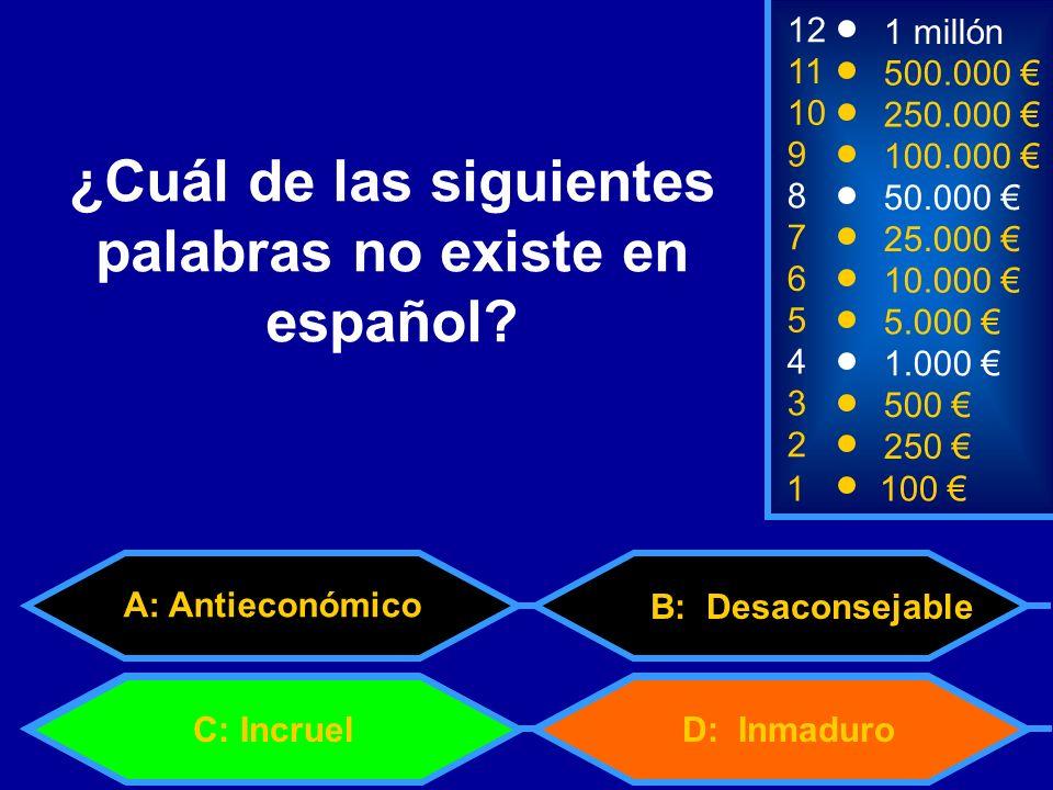 1100 8 7 6 5 4 3 50.000 25.000 10.000 5.000 1.000 500 12 11 10 9 1 millón 500.000 250.000 100.000 ¿Cuál de las siguientes palabras no existe en español.