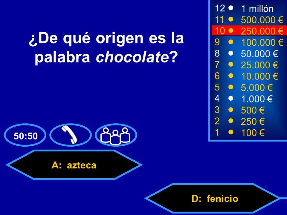 A: azteca C: celtaD: fenicio B: árabe 2 250 8 7 50.000 25.000 12 11 9 1 millón 500.000 100.000 ¿De qué origen es la palabra chocolate.