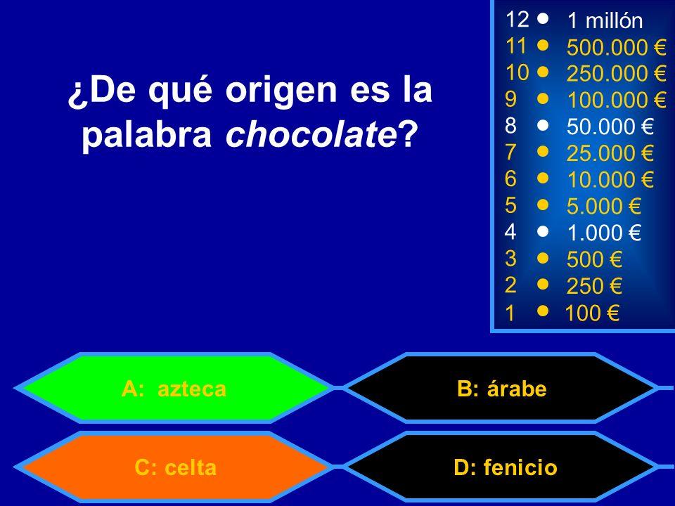 1100 8 3 50.000 500 12 10 9 1 millón 250.000 100.000 ¿De qué origen es la palabra chocolate.