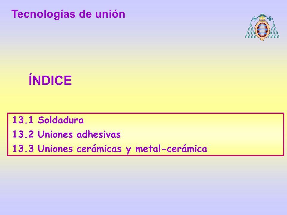 TECNOLOGÍA DE MATERIALES 13.1 Soldadura Uniones por soldadura las más empleadas en la industria actual (aleaciones metálcas y materales pásticos termoplásticos) Tecnologías de unión