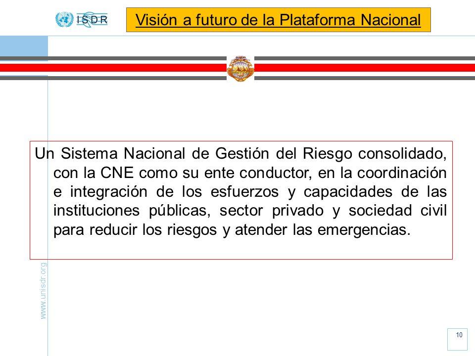 www.unisdr.org 10 Un Sistema Nacional de Gestión del Riesgo consolidado, con la CNE como su ente conductor, en la coordinación e integración de los es