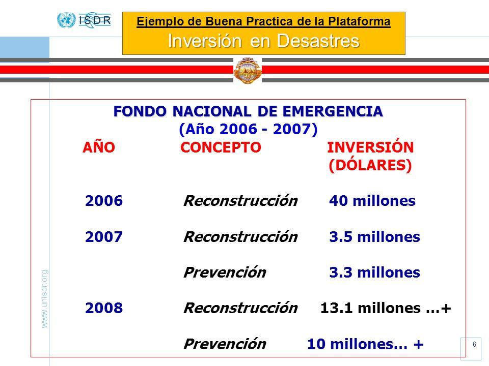 www.unisdr.org 6 FONDO NACIONAL DE EMERGENCIA (Año 2006 - 2007) AÑOCONCEPTOINVERSIÓN (DÓLARES) 2006 Reconstrucción40 millones 2007Reconstrucción3.5 mi