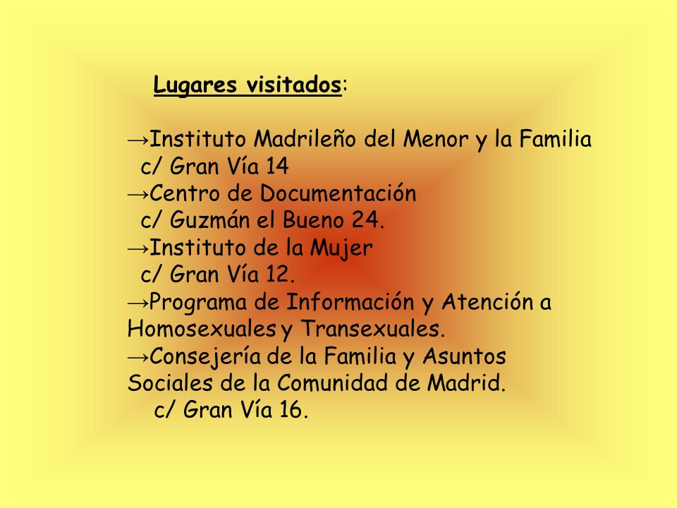 Hemos obtenido información: -http://www.ayudaafamiliasseparadas.com -http://www.jmaguilar.com -http://www.cogam.og http://www.mtas.es/mujer/mujeres/ci