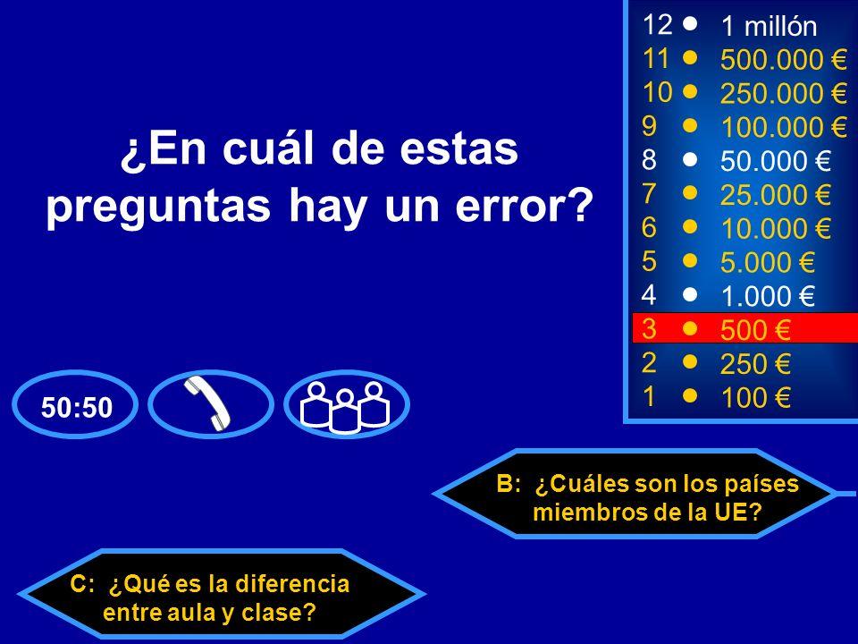 A: ¿Cuántas personas trabajan. C: ¿Qué es la diferencia entre aula y clase.