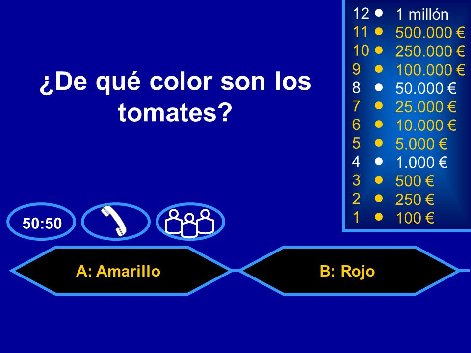 A: Amarillo C: BlancoD: Azul 50:50 B: Rojo 2 250 1 100 8 7 6 5 4 3 50.000 25.000 10.000 5.000 1.000 500 12 11 10 9 1 millón 500.000 250.000 100.000 ¿De qué color son los tomates?