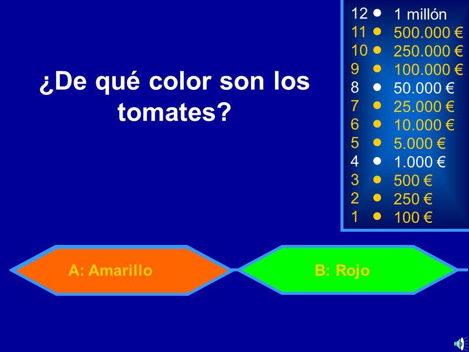 A: AmarilloB: Rojo 2 250 1 100 8 7 6 5 4 3 50.000 25.000 10.000 5.000 1.000 500 12 11 10 9 1 millón 500.000 250.000 100.000 ¿De qué color son los tomates?