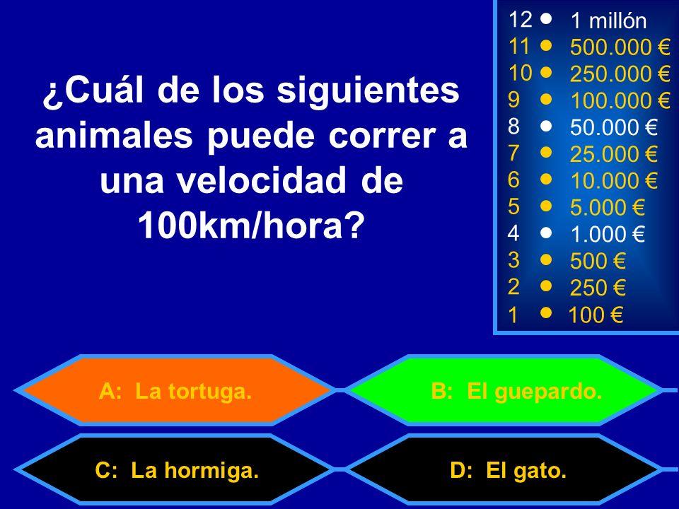 1100 3 500 12 11 10 9 1 millón 500.000 250.000 100.000 ¿Cuál de los siguientes animales puede correr a una velocidad de 100km/hora.
