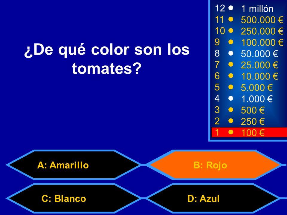 2 250 1 100 8 7 6 5 4 3 50.000 25.000 10.000 5.000 1.000 500 12 11 10 9 1 millón 500.000 250.000 100.000 ¿De qué color son los tomates.