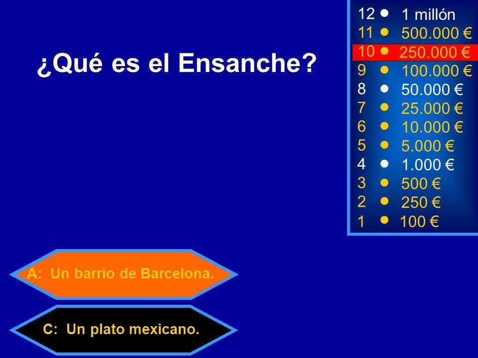 A: Un barrio de Barcelona. C: Un plato mexicano.
