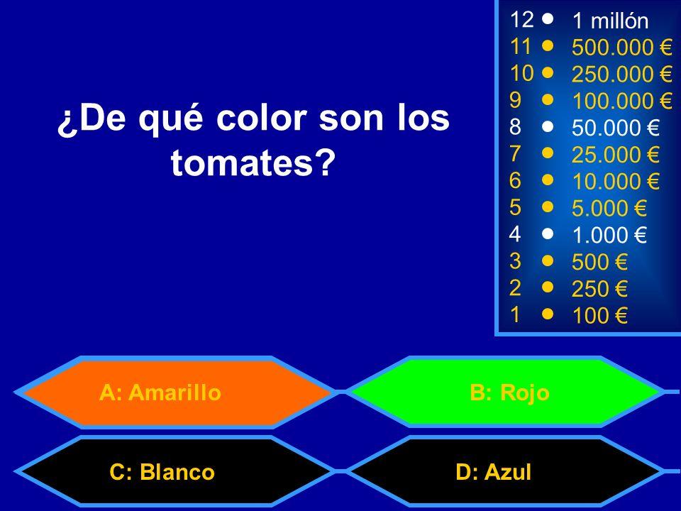 A: Amarillo C: BlancoD: Azul B: Rojo 2 250 1 100 8 7 6 5 4 3 50.000 25.000 10.000 5.000 1.000 500 12 11 10 9 1 millón 500.000 250.000 100.000 ¿De qué color son los tomates?