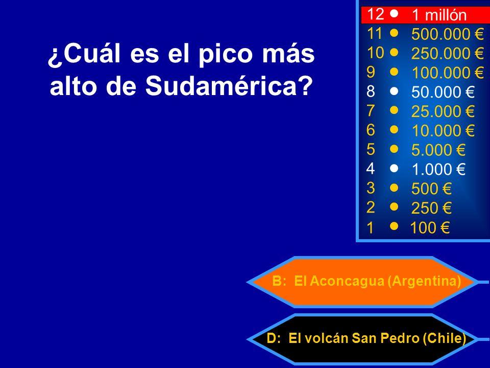 D: El volcán San Pedro (Chile) B: El Aconcagua (Argentina) 2 250 12 10 9 1 millón 250.000 100.000 ¿Cuál es el pico más alto de Sudamérica.