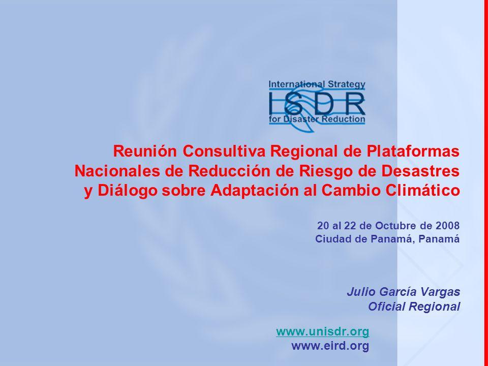 Algunos mecanismos para promocionar la interrelación entre la RRD y CC (1/2) Propiciar espacios de intercambio de conocimientos, experiencias y actividades en curso y previstas (compartir agendas de trabajo) de la RRD y CC (p.ej.