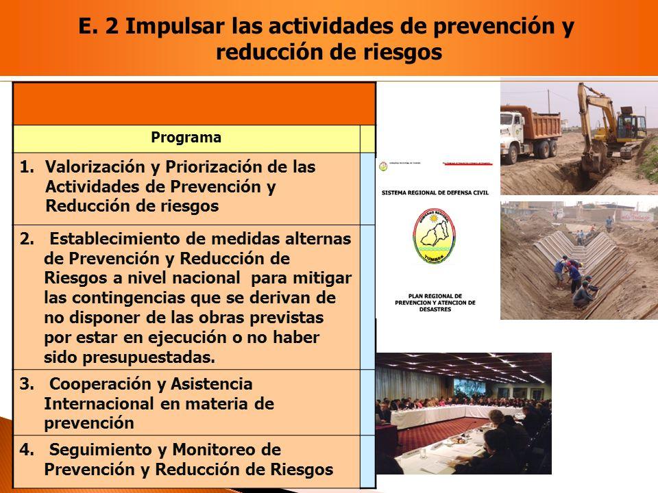Programa 1.Valorización y Priorización de las Actividades de Prevención y Reducción de riesgos 2. Establecimiento de medidas alternas de Prevención y