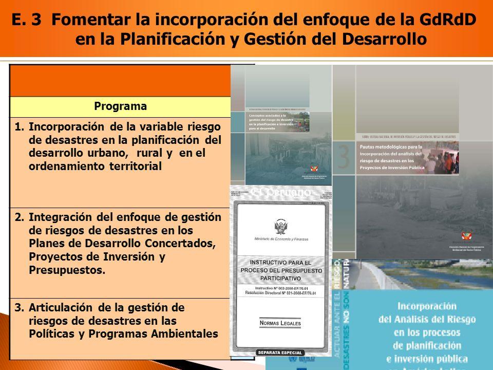 Programa 1.Incorporación de la variable riesgo de desastres en la planificación del desarrollo urbano, rural y en el ordenamiento territorial 2.Integr