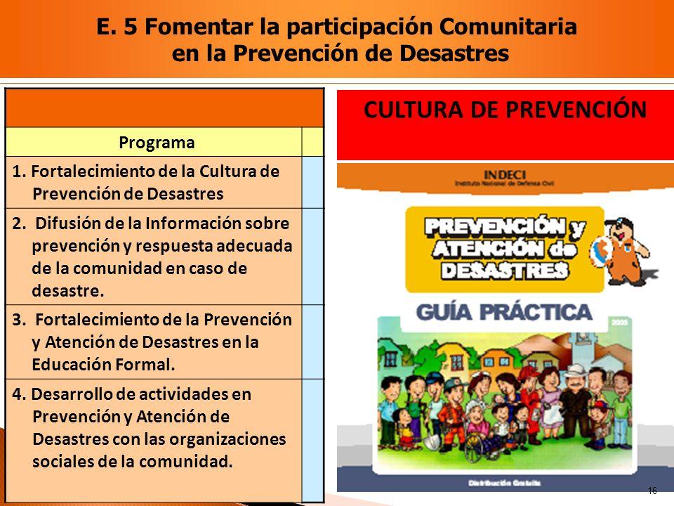 Programa 1. Fortalecimiento de la Cultura de Prevención de Desastres 2. Difusión de la Información sobre prevención y respuesta adecuada de la comunid