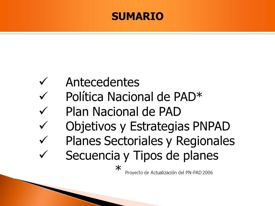 Antecedentes Política Nacional de PAD* Plan Nacional de PAD Objetivos y Estrategias PNPAD Planes Sectoriales y Regionales Secuencia y Tipos de planes