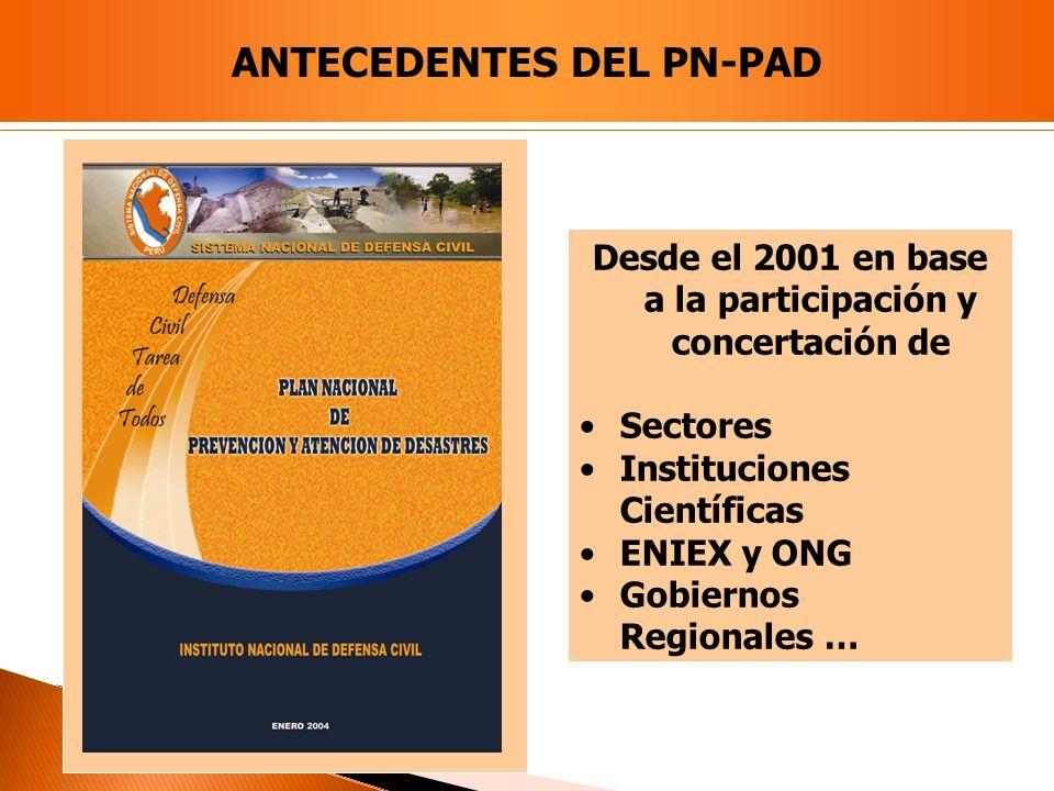 Desde el 2001 en base a la participación y concertación de Sectores Instituciones Científicas ENIEX y ONG Gobiernos Regionales … ANTECEDENTES DEL PN-P