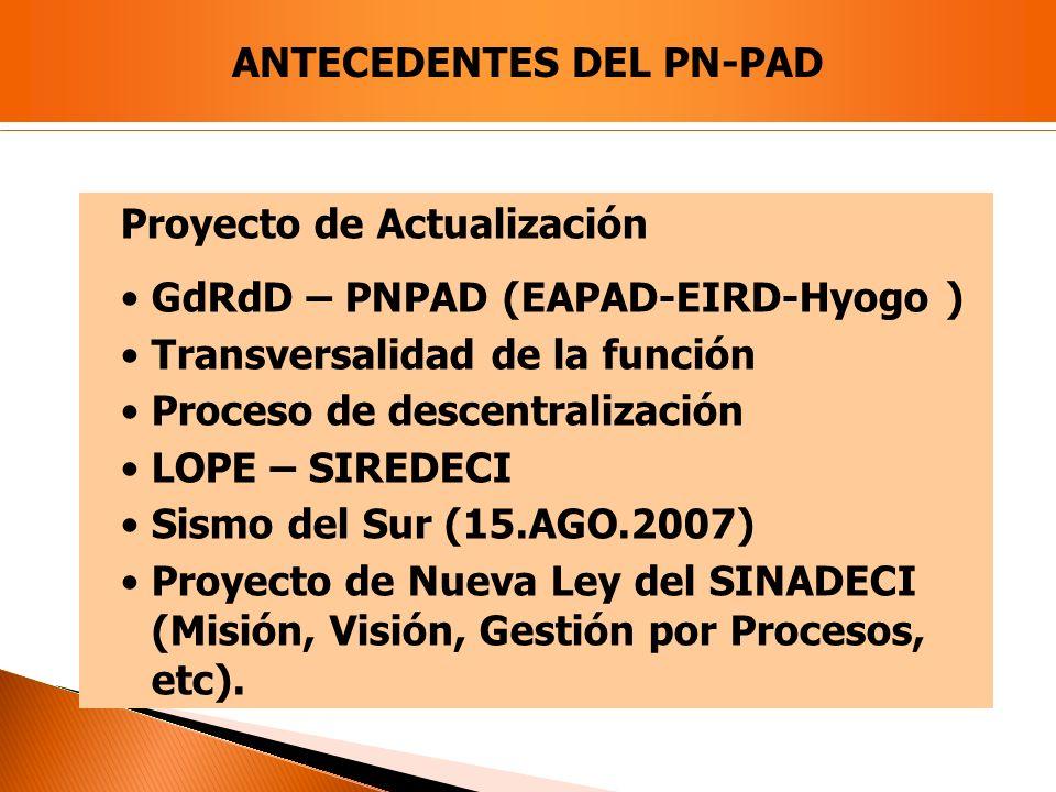 Proyecto de Actualización GdRdD – PNPAD (EAPAD-EIRD-Hyogo ) Transversalidad de la función Proceso de descentralización LOPE – SIREDECI Sismo del Sur (