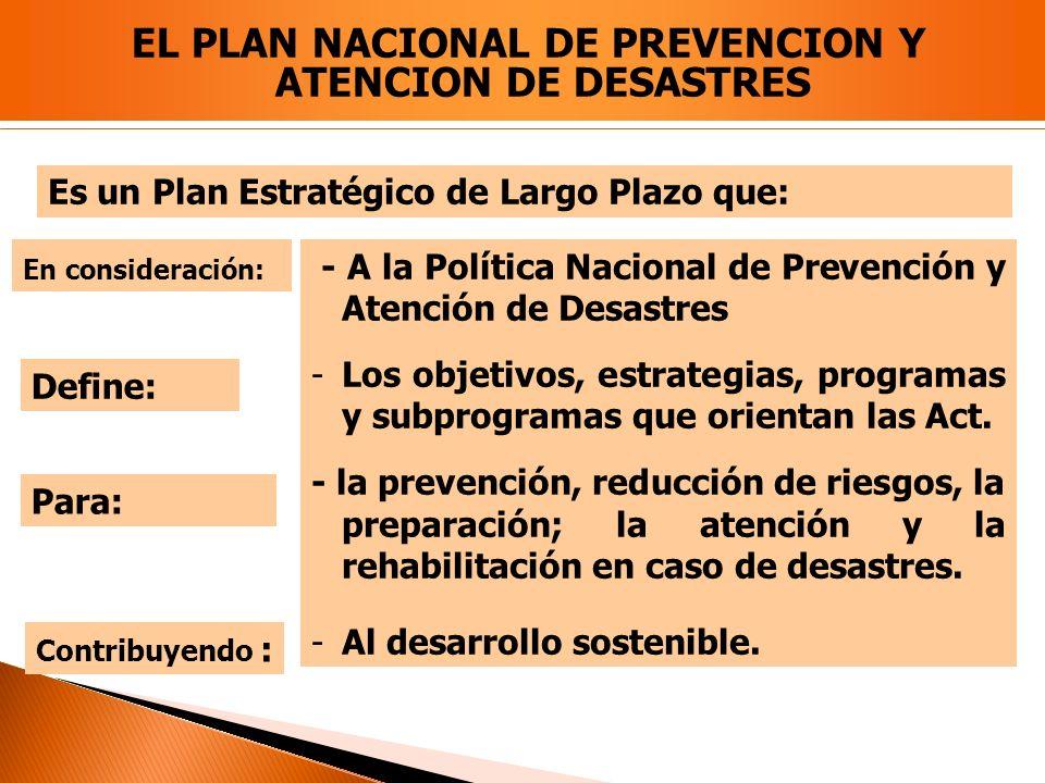 - A la Política Nacional de Prevención y Atención de Desastres -Los objetivos, estrategias, programas y subprogramas que orientan las Act. - la preven