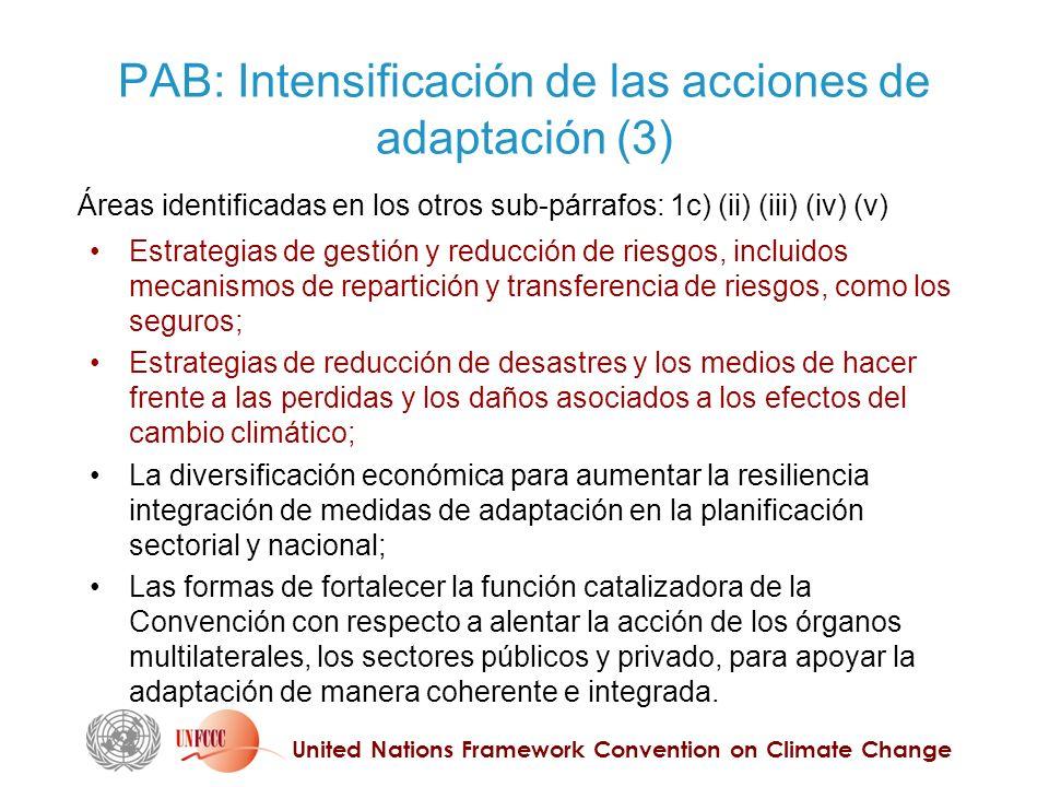United Nations Framework Convention on Climate Change PAB: Intensificación de las acciones de adaptación (3) Estrategias de gestión y reducción de riesgos, incluidos mecanismos de repartición y transferencia de riesgos, como los seguros; Estrategias de reducción de desastres y los medios de hacer frente a las perdidas y los daños asociados a los efectos del cambio climático; La diversificación económica para aumentar la resiliencia integración de medidas de adaptación en la planificación sectorial y nacional; Las formas de fortalecer la función catalizadora de la Convención con respecto a alentar la acción de los órganos multilaterales, los sectores públicos y privado, para apoyar la adaptación de manera coherente e integrada.