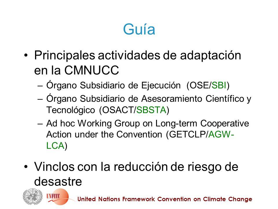 United Nations Framework Convention on Climate Change Guía Principales actividades de adaptación en la CMNUCC – Órgano Subsidiario de Ejecución (OSE/S