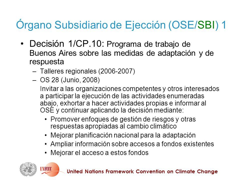 United Nations Framework Convention on Climate Change Órgano Subsidiario de Ejección (OSE/SBI) 1 Decisión 1/CP.10: Programa de trabajo de Buenos Aires
