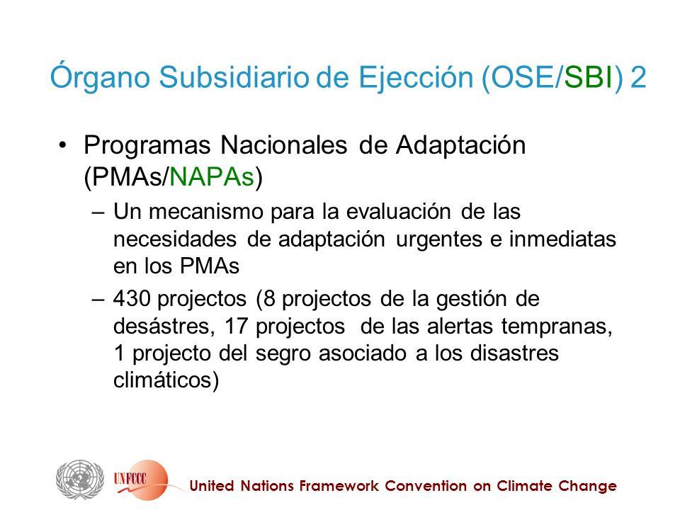 United Nations Framework Convention on Climate Change Órgano Subsidiario de Ejección (OSE/SBI) 2 Programas Nacionales de Adaptación (PMAs/NAPAs) – Un mecanismo para la evaluación de las necesidades de adaptación urgentes e inmediatas en los PMAs – 430 projectos (8 projectos de la gestión de desástres, 17 projectos de las alertas tempranas, 1 projecto del segro asociado a los disastres climáticos)