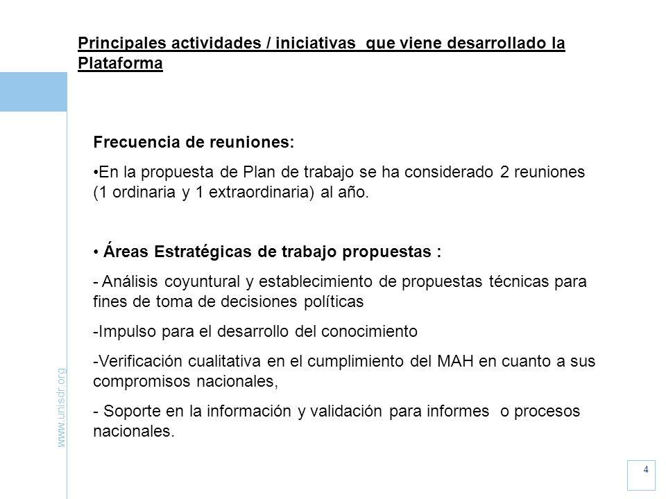 www.unisdr.org 4 Principales actividades / iniciativas que viene desarrollado la Plataforma Frecuencia de reuniones: En la propuesta de Plan de trabajo se ha considerado 2 reuniones (1 ordinaria y 1 extraordinaria) al año.