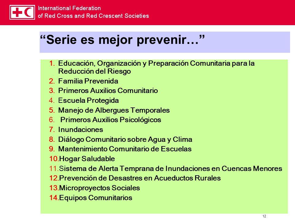 12 Serie es mejor prevenir… 1.Educación, Organización y Preparación Comunitaria para la Reducción del Riesgo 2.Familia Prevenida 3.Primeros Auxilios C