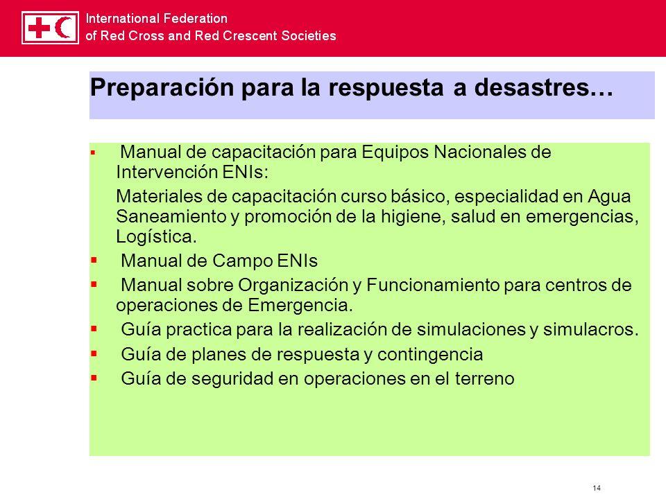 14 Preparación para la respuesta a desastres… Manual de capacitación para Equipos Nacionales de Intervención ENIs: Materiales de capacitación curso bá