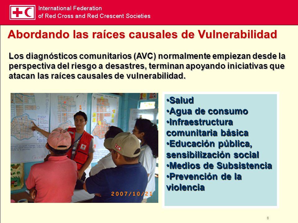 6 Los diagnósticos comunitarios (AVC) normalmente empiezan desde la perspectiva del riesgo a desastres, terminan apoyando iniciativas que atacan las r