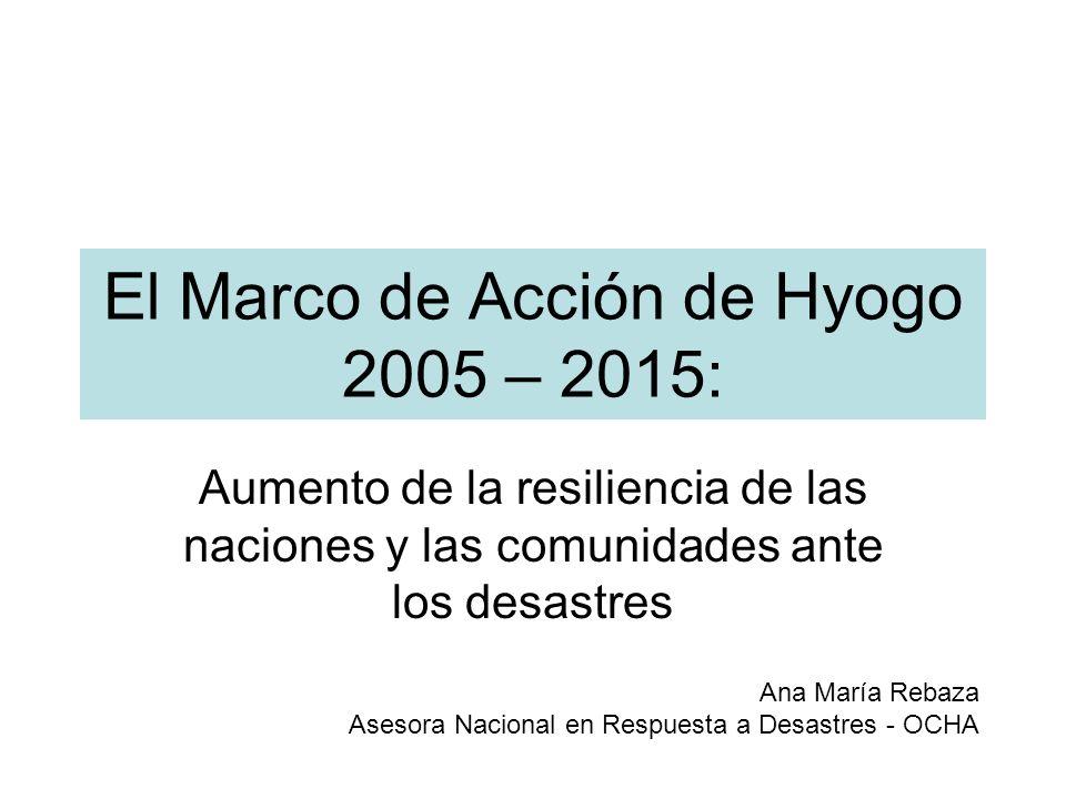 El Marco de Acción de Hyogo Instrumento más importante para la reducción de riesgos de desastres Carácter no vinculante: –Brinda fundamentos técnicos y organizativos –Aplicación específica de acuerdo al contexto nacional